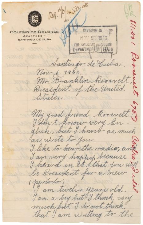 Letter from Fidel Castro to FDR, 1940, pg100968_2003_001